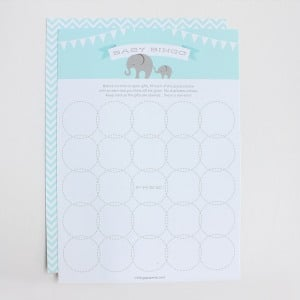 Elephant-themed shower bingo